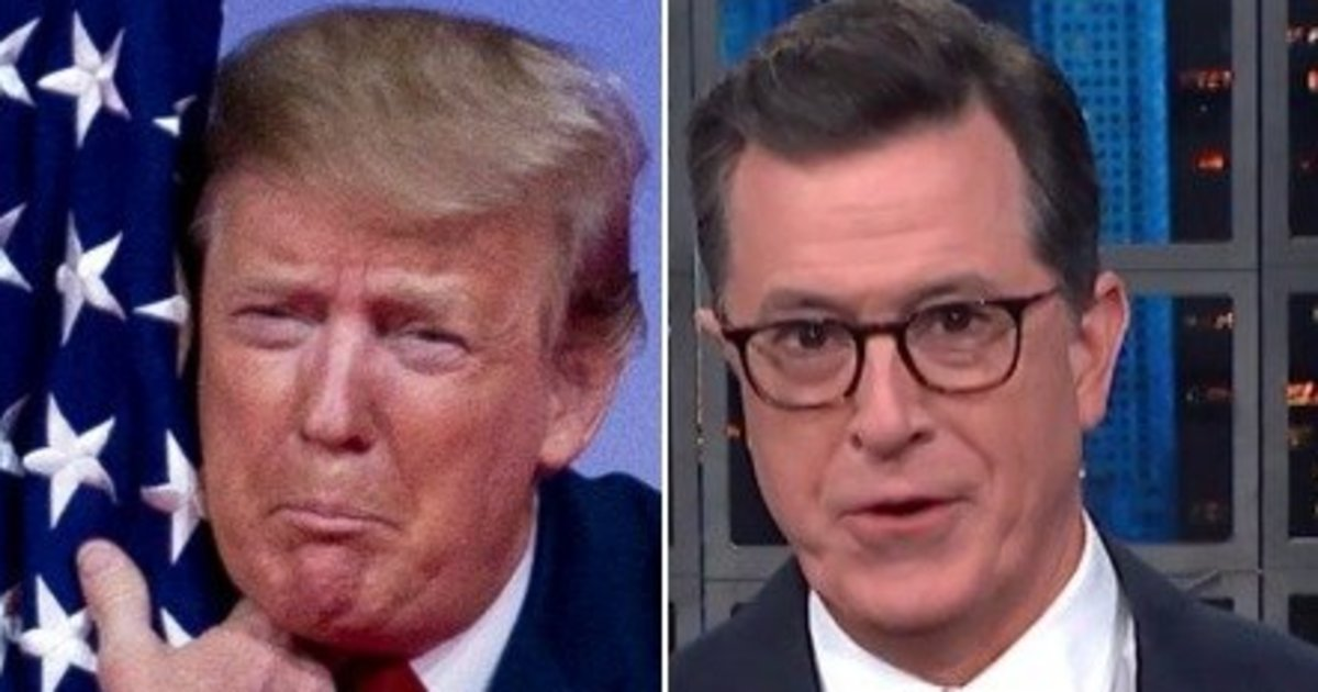 Colbert On Trump's Flag Hug: 'First Time A Flag's Ever Volunteered To Be Burned'